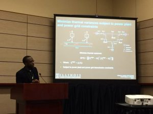PhD candidate William Lubega presents his work 'Maintaining Electric Grid Reliability Under Drought Conditions' at the World Environmental and Water Resources Congress on May 25, 2016, in West Palm Beach, Fla.