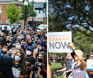 Side-by-side photo configuration depicts images of a Black Lives Matter protest in Downtown Champaign and the 2019 Climate March on the University of Illinois campus.