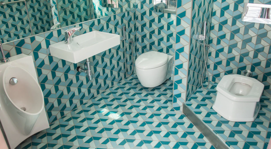 Photo depicts a digital model of a bathroom complete with innovative, sustainable design.